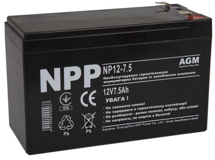 Купить Батарея для ПБЖ NPP 12V 7.5AН, NP12-7.5 (NPP), Noname