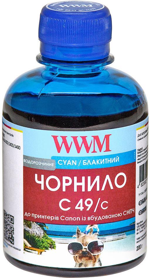 Купить Чорнило WWM for Canon Pixma G1400/2400/3400 - Cyan 200g (C49/C)