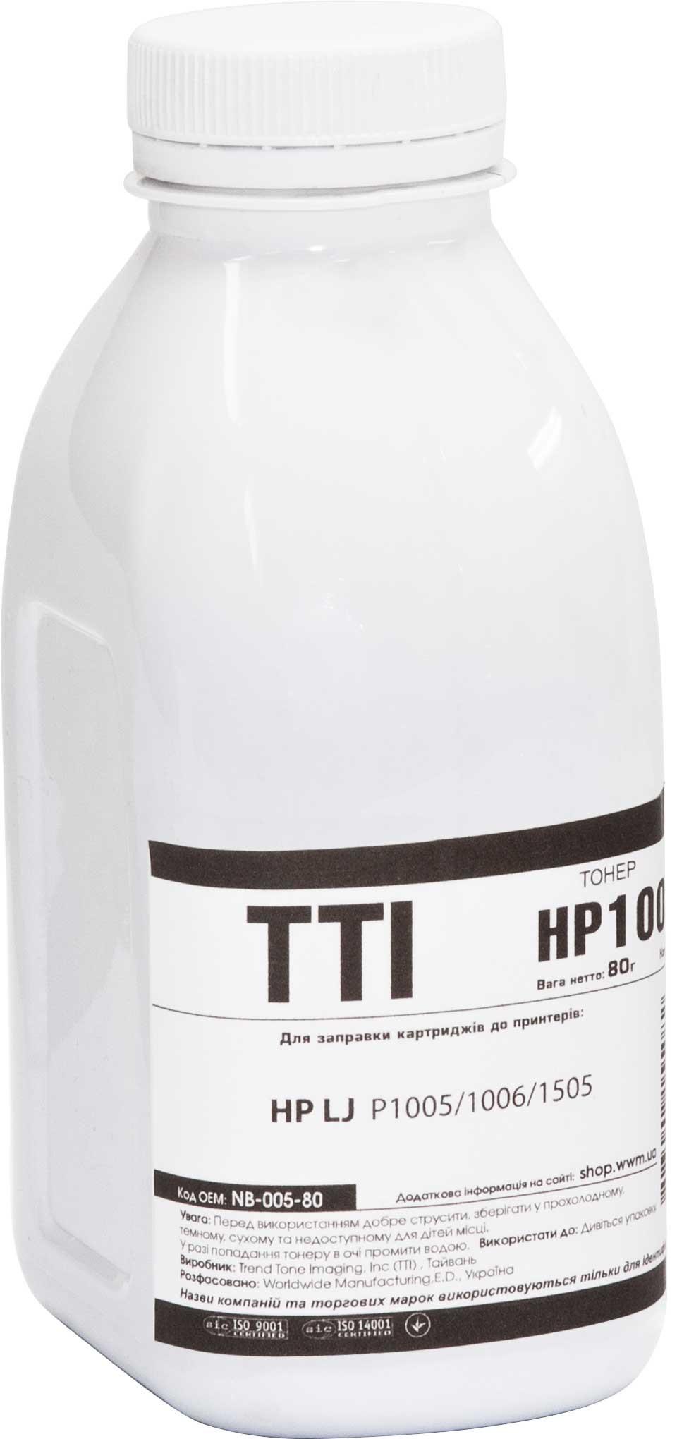 Купить Тонер TTI for HP LJ P1005/1006/1505 Black бутль 80g, NB-005-80