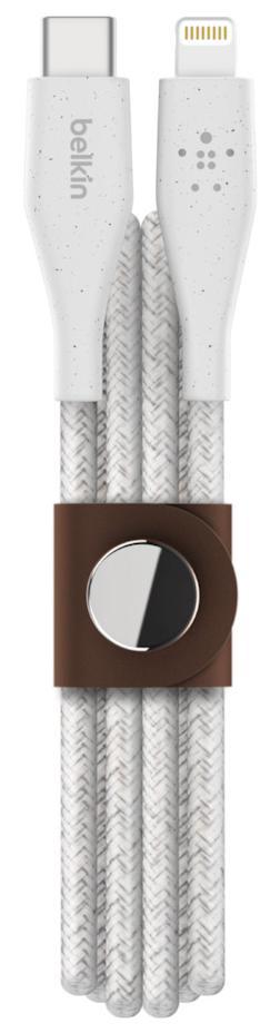Купить USB кабелі та розгалужувачі, Кабель Belkin DuraTek Plus CM/Lightning 1.2m White (F8J243BT04-WHT)