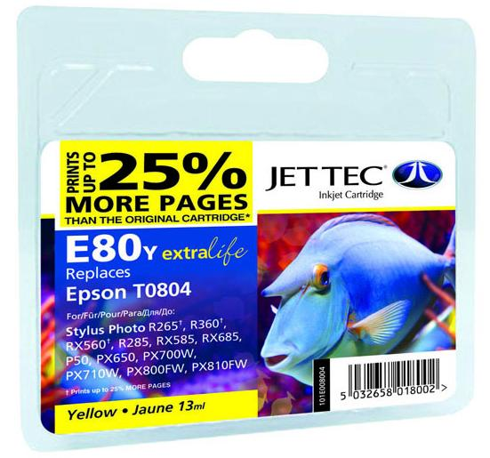 Купить Картридж Jet Tec E80Y Epson Stylus Photo P50, PX660, PX720WD жовтий, 110E008004
