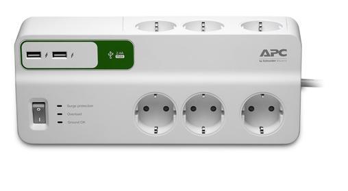 Купить Мережевий фільтр APC Essential SurgeArrest 6/2 + 2 USB, PM6U-RS