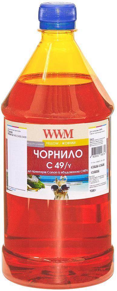 Купить Чорнило WWM for Canon Pixma G1400/2400/3400 - Yellow 1000g (C49/Y), C49/Y-4