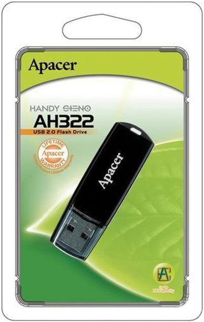 Купить Флешка USB Apacer AH322 16 ГБ (AP16GAH322B-1) чорна