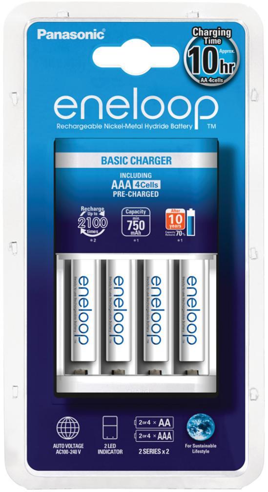 Купить Зарядні пристрої для акумуляторів, Зарядний пристрій Panasonic Basic Charger New (4xAAA Eneloop 750 mAh), K-KJ51MCC04E