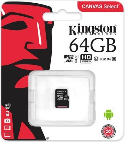 Купить Flash пам'ять, Карта пам'яті Kingston Canvas Select Micro SDXC 64GB SDCS/64GBSP