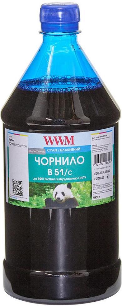 Купить Чорнило WWM Brother DCP-T300/T500W/T700W 1000g Cyan, B51/C-4