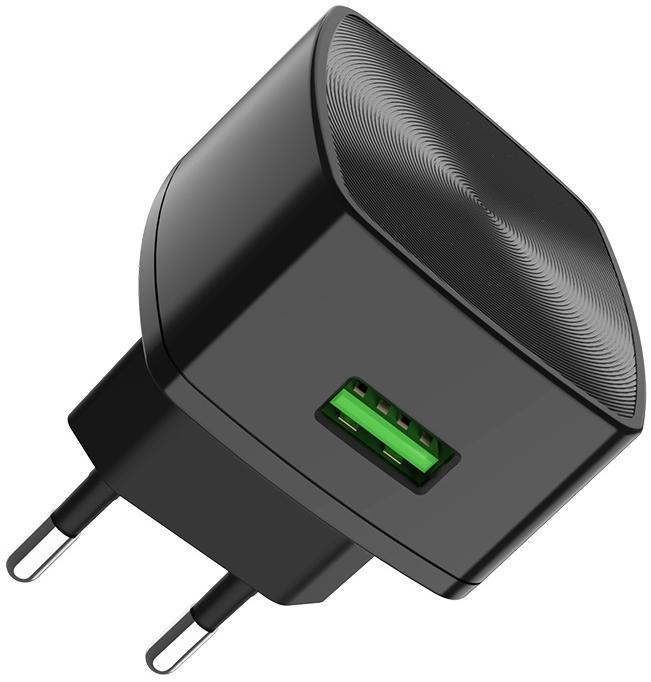 Купить Зарядні пристрої, Зарядний пристрій Hoco C70A QC 3.0 with Micro USB Cable Black (C70A Micro Cable)