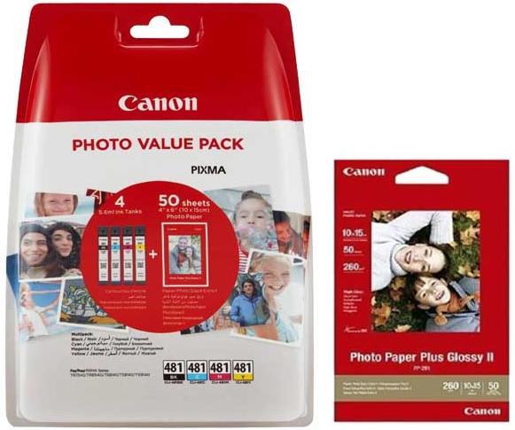 Купить Картридж Canon CLI-481 (Cyan/Magenta/Yellow/Black) + фотопапір Canon PP-201 50 арк, 2101C004