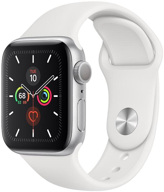 Купить Смарт годинники, Смарт годинник Apple Watch Series 5 GPS, 40mm Silver Aluminium Case with White Sport Band (MWV62)
