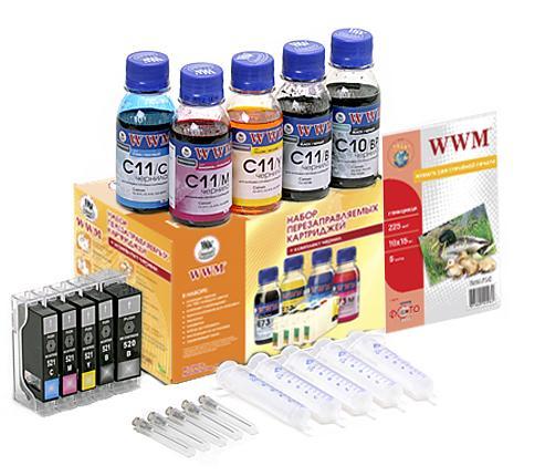 Комплект перезаправних картриджів WWM RC.CLI-521 Canon PIXMA IP4840/4700/MP540/MG5140/MG5240  - купить со скидкой