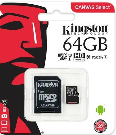 Купить Flash пам'ять, Карта пам'яті Kingston Canvas Select Micro SDXC 64GB SDCS/64GB