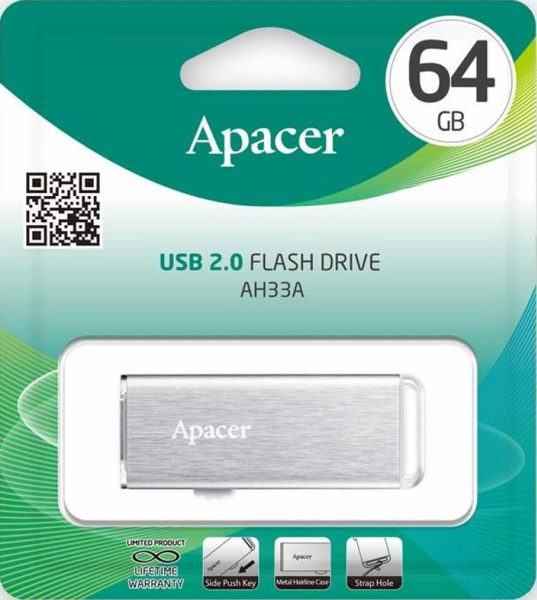 Купить Flash пам'ять, Флешка USB Apacer AH33A 64GB AP64GAH33AS-1 Metal Silver