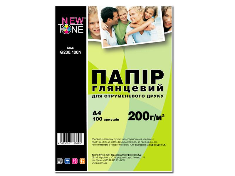 Купить Папір, Фотопапір А4 NewTone 100 аркушів (G200.100N)