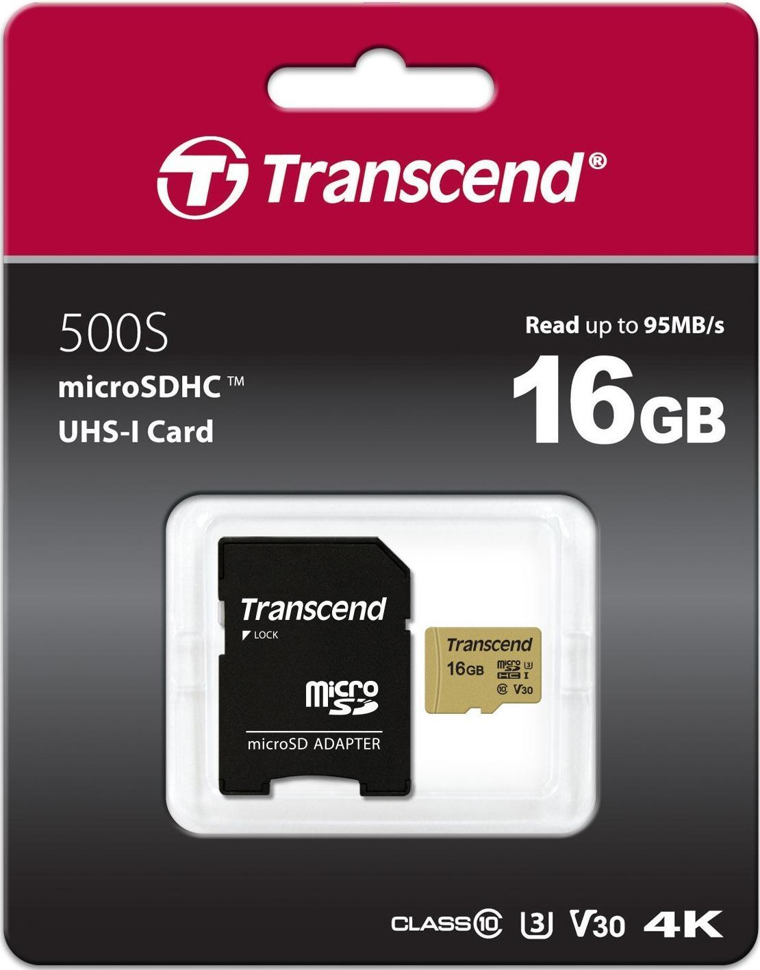 Купить Flash пам'ять, Карта пам'яті Transcend 500S V30 Micro SDHC 16GB TS16GUSD500S