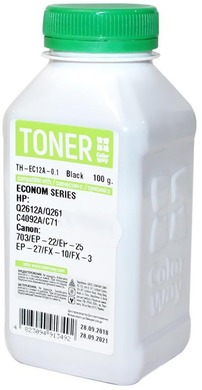 Купить Тонер ColorWay for HP LJ 1000/1010/1200 economy (100г), TH-EC12A-0.1