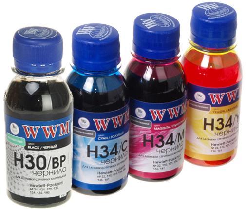 Купить Комплект чорнил WWM H30/34SET-2 HP HP Deskjet 1000 J110a, 1000 J110c, 1000 кольорове