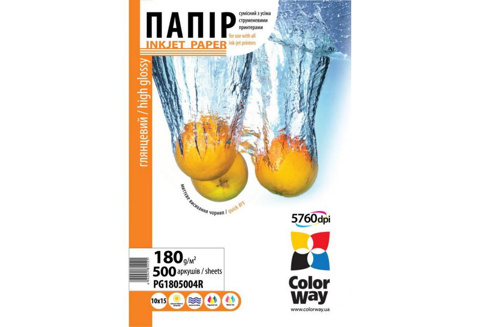 Купить Фотопапір 10x15 ColorWay PG180-500 500 аркушів (PG180-500), PG1805004R