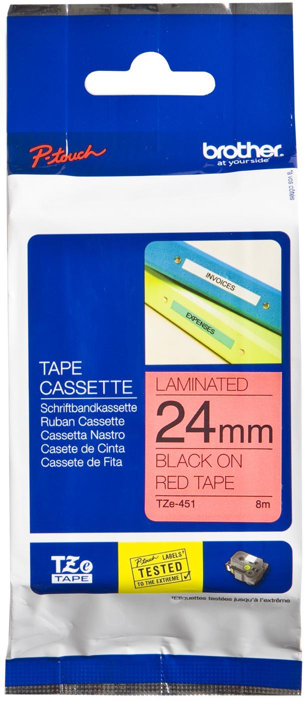 Купить Стрічка Brother 24mm ламінована, Red Print Black, TZE451
