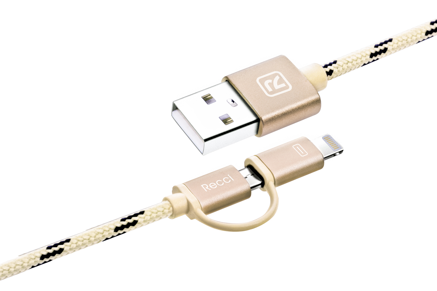 Купить Кабель Recci RCD-F100 Cavalry AM / Micro USB and Lightning 1m Gold (RCD-F100 Gold)