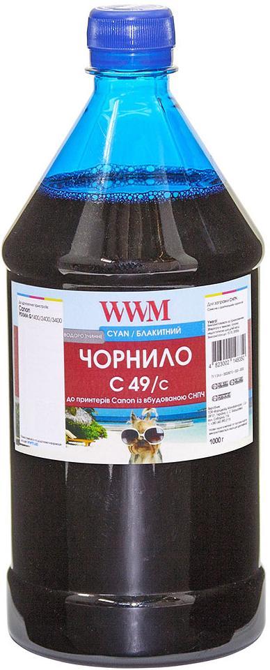 Купить Чорнило WWM for Canon Pixma G1400/2400/3400 - Cyan 1000g (C49/C), C49/C-4