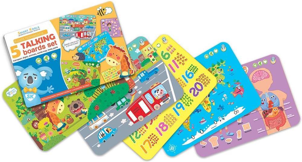 Купить Інтерактивний борд Smart Koala - 'Карта світу', 'Частини тіла', 'Цифри', 'Транспорт', 'Тварини' (SKSAB5IN1)