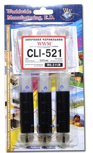 Купить Комплект чорнил WWM Canon CLI-521 чорний, IR3.C11/B