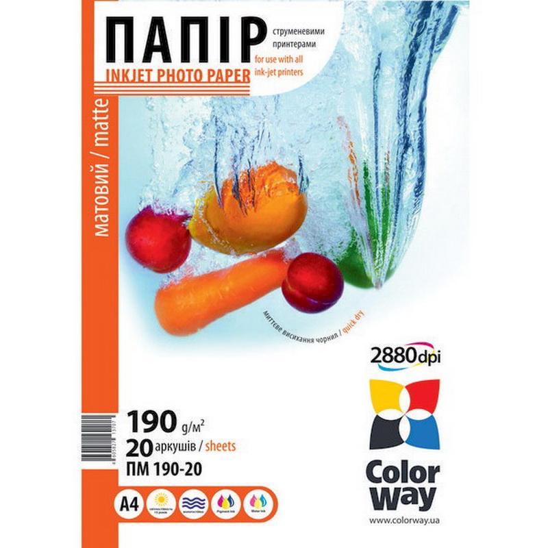 Купить Фотопапір А4 ColorWay 20 аркушів (ПМ190-20), PM190020A4