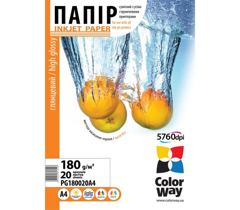 Фотопапір A4 ColorWay PG180-20 20 аркушів (PG180020A4)  - купить со скидкой
