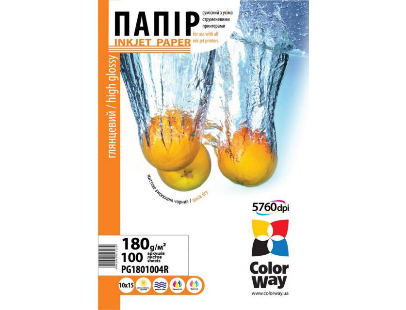 Купить Фотопапір 10х15 ColorWay 100 аркушів (PG180-100), PG1801004R