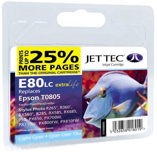 Купить Картридж Jet Tec E80LС Epson Stylus Photo P50, PX660, PX720WD світло-блакитний, 110E008005