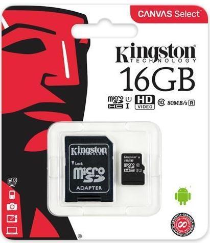 Купить Карта пам'яті Kingston Canvas Select Micro SDHC 16GB SDCS/16GB