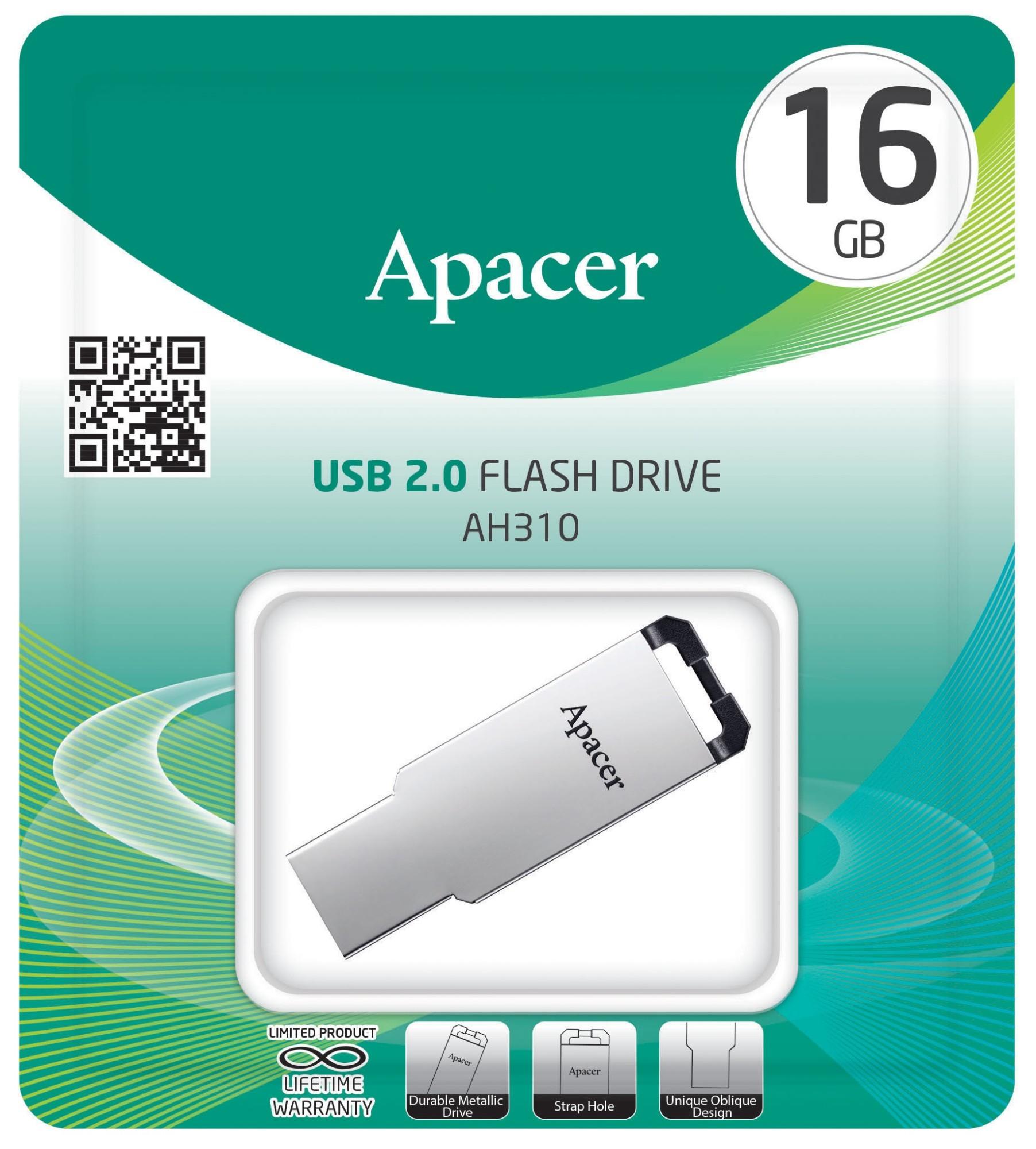 Купить Флешка USB Apacer AH310 16GB AP16GAH310S-1 Silver