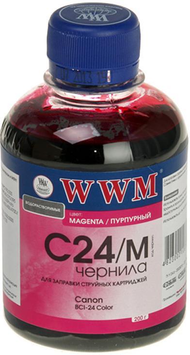 Чорнило WWM C24/M Canon BCI-24 малинове, C24/M_200g  - купить со скидкой