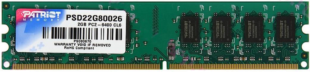 Купить Пам'ять Patriot DDR2 1x2ГБ (PSD22G80026)