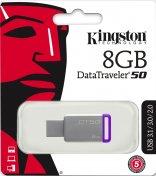 Флешка USB Kingston DT 50 8 ГБ (DT50/8GB) срібляста/фіолетова