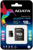 Карта пам'яті A-Data Micro SDHC 16GB AUSDH16GUI3CL10-RA1