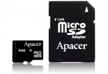 Карта пам'яті Apacer Micro SDHC Class 4 4GB AP4GMCSH4-R