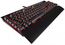 Клавіатура, Corsair Gaming K70 LUX, Cherry MX, механіка, USB Чорна Червона LED підсвітка ( Gaming )