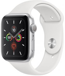 Смарт годинник Apple Watch Series 5 GPS, 44mm Silver Aluminium Case with White Sport Band - S/M & M/L (MWVD2)