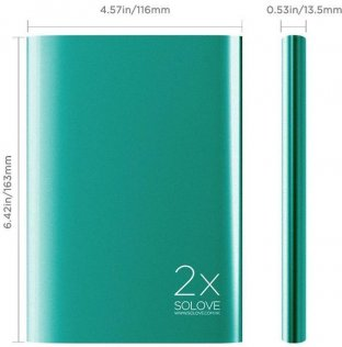 Батарея універсальна Solove A8 Power Bank 20000 mAh зелена