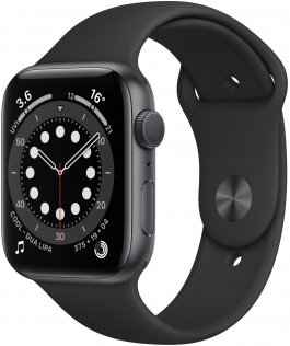Смарт годинник Apple Watch Series 6 GPS 44mm Space Grey Aluminium with Black Sport Band (M00H3)