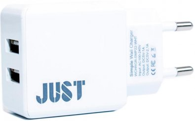 Мережевий зарядний пристрій Just Simple Dual USB Wall Charger 2xUSB 2.1A білий