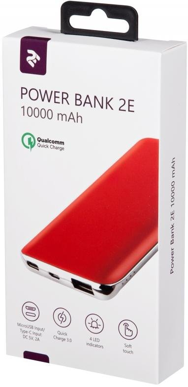 Батарея універсальна 2E Power Bank 10000mAh 1xUSB / Type-C / Micro USB Red (2E-PB1036AQC-RED)