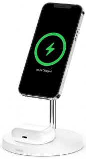 Док-станція Belkin 2in1 MagSafe iPhone 12 Wireless Charger White (WIZ010vfWH)