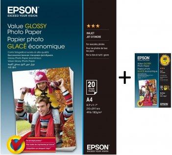 Фотопапір A4 Epson 183 г/м 20 арк + Epson 10x15 2x20 арк. (C13S400035+C13S400044)