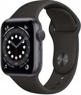Смарт годинник Apple Watch Series 6 GPS 40mm Space Gray Aluminium Case with Black Sport Band (MG133)