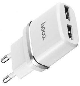 Зарядний пристрій Hoco C12 2xUSB with Cable MicroUSB White (C12 White + cable)