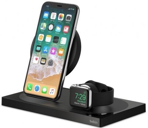 Док-станція Belkin 2in1 Wireless Pad/Stand/Apple Watch Black (F8J234VFBLK-APL)