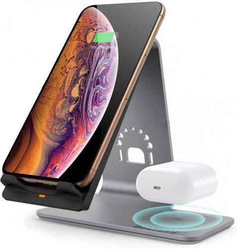 Док-станція Bestand Wireless charge iPhone / AirPods - Gray (Ewke-G2in1)